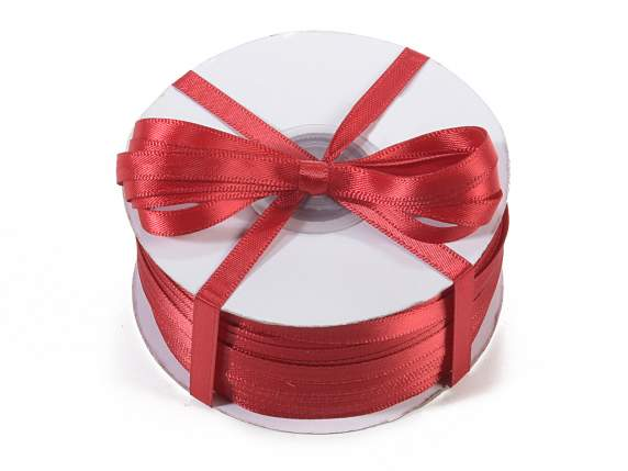 Satin ribbon roll Poly mm 6x100 mt ruby red colour