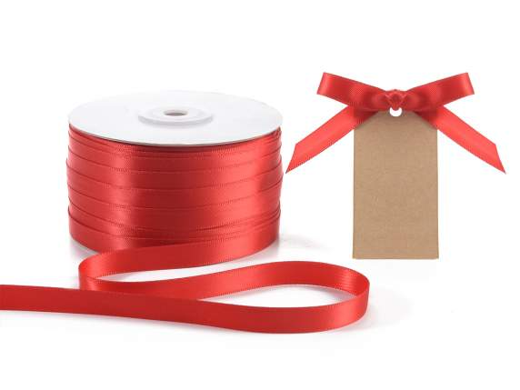 Satin ribbon roll Poly mm 10x100 mt red colour