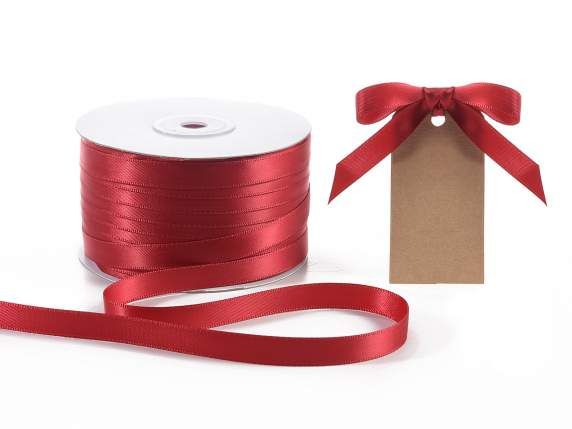 Satin ribbon roll Poly mm 10x100 mt ruby red colour