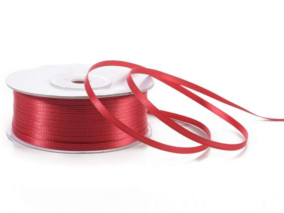 Satin ribbon roll Poly mm 3x100 mt ruby red colour