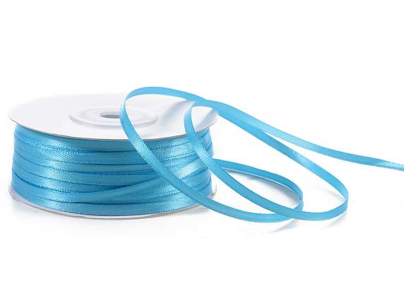 Satin ribbon roll Poly mm 3x100 mt turquoise colour