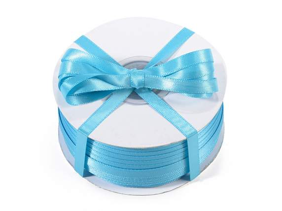 Satin ribbon roll Poly mm 6x100 mt turquoise colour