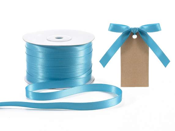 Satin ribbon roll Poly mm 10x100 mt turquoise colour
