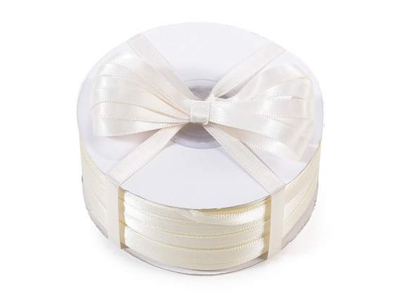 Satin ribbon roll Poly mm 6x100 mt ancient white colour