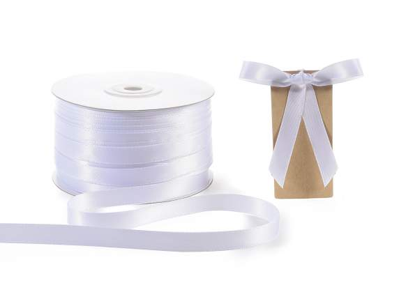 Satin ribbon roll Poly mm 10x100 mt snow white colour