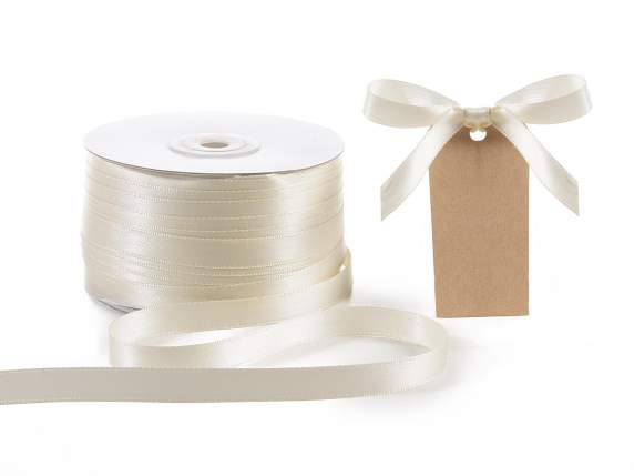 Satin ribbon roll Poly mm 10x100 mt ancient white colour