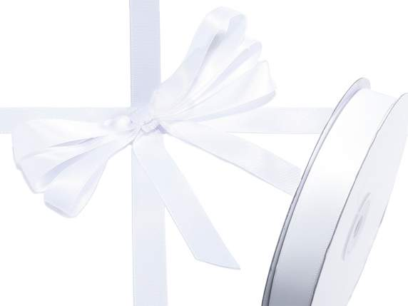 Satin ribbon roll Poly mm 15x50 mt snow white colour