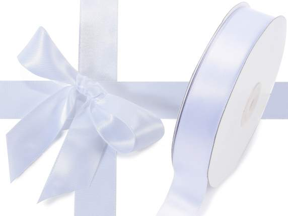 Satin ribbon roll Poly mm 25x50 mt snow white colour
