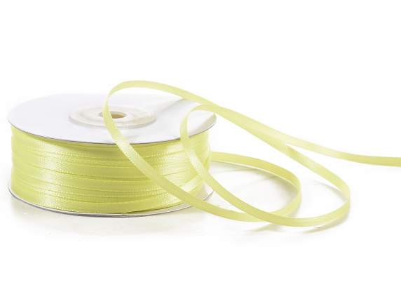 Satin ribbon roll Poly mm 3x100 mt yellow colour