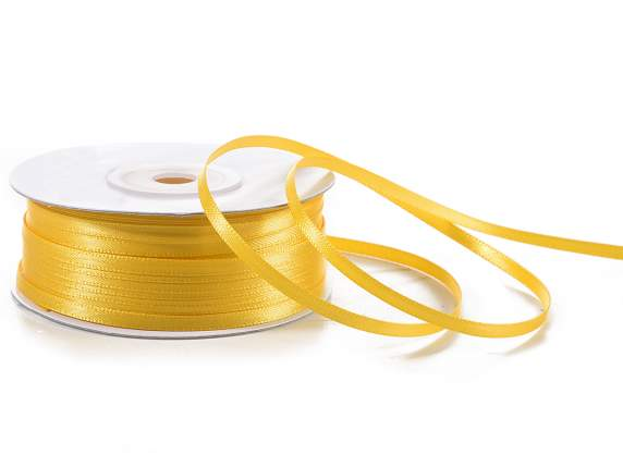Satin ribbon roll Poly mm 3x100 mt yellow sunflower colour