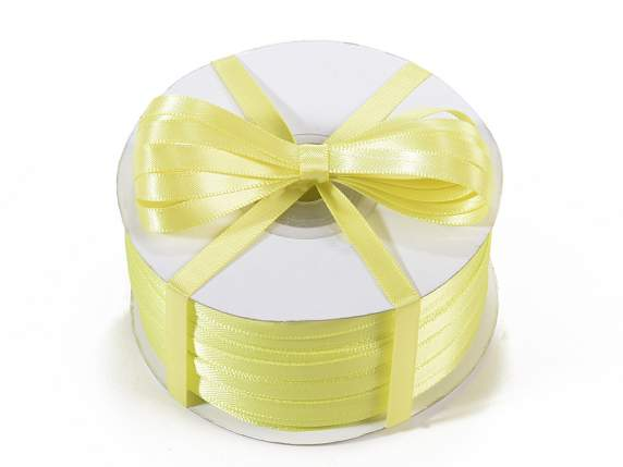 Satin ribbon roll Poly mm 6x100 mt yellow colour