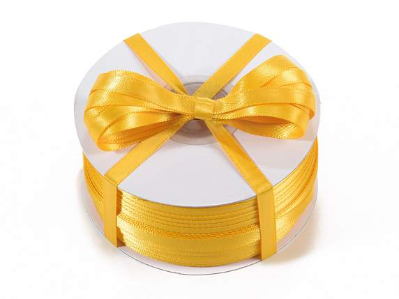 Satin ribbon roll Poly mm 6x100 mt yellow sunflower colour