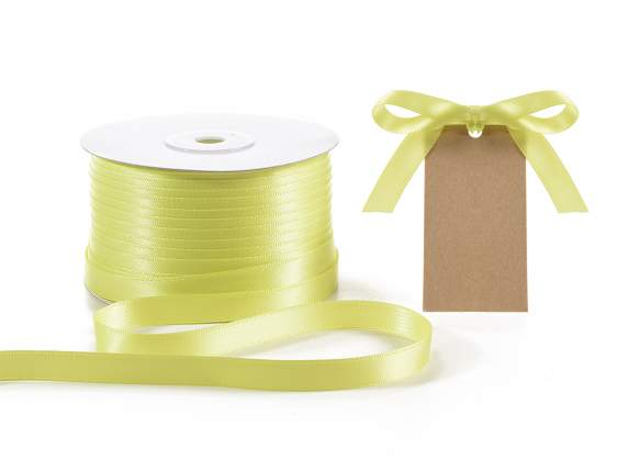 Satin ribbon roll Poly mm 10x100 mt yellow colour
