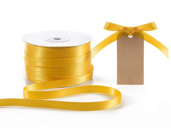 Satin ribbon roll Poly mm 10x100mt yellow sunflower colour