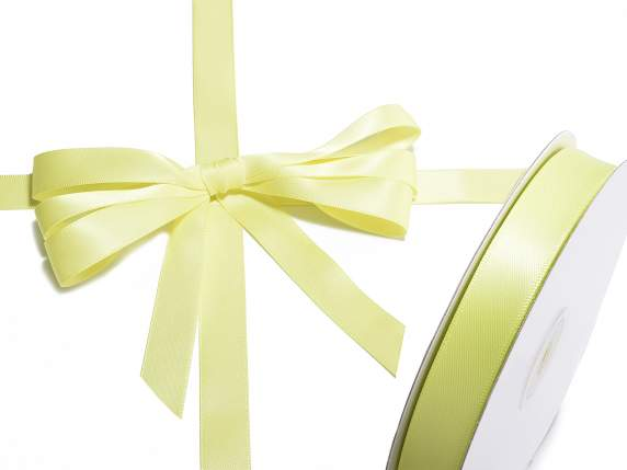 Satin ribbon roll Poly mm 15x50 mt yellow colour