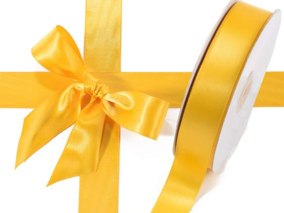 Satin ribbon roll Poly mm 25x50 mt yellow sunflower colour