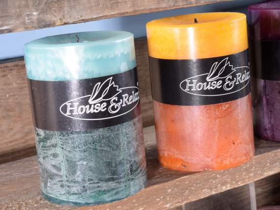 Cylindrical scented colored candles