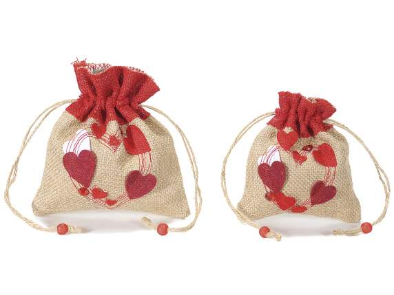 Set 2 sacchetti in juta con decori a cuore applicati
