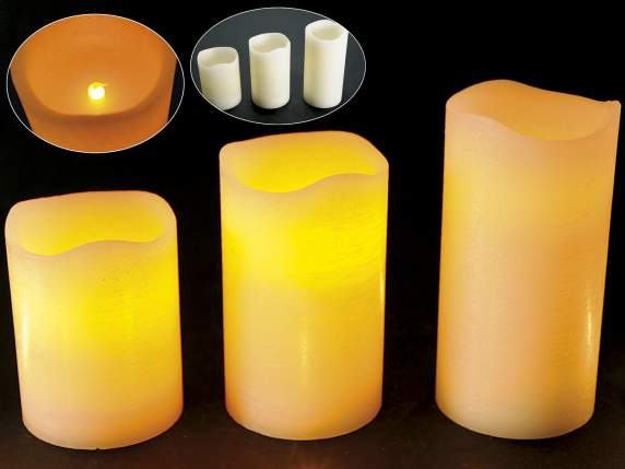 Set 3 candele cilindriche color crema a batteria