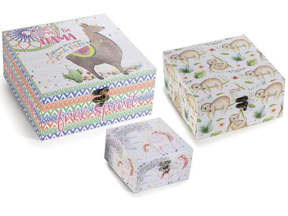 Set 3 scatole in legno c/decori Animal Fantasy e gancio