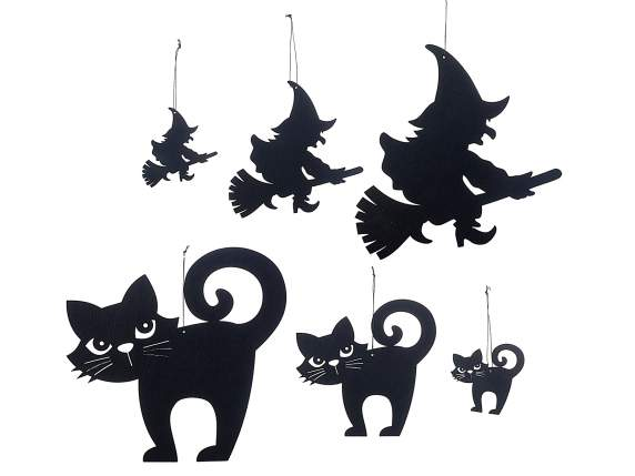 Set 6 decorazioni di Halloween in panno nero da appendere