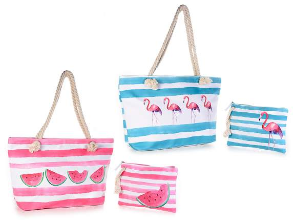 Set borsa mare c/zip e pochette resistente all'acqua c/zip