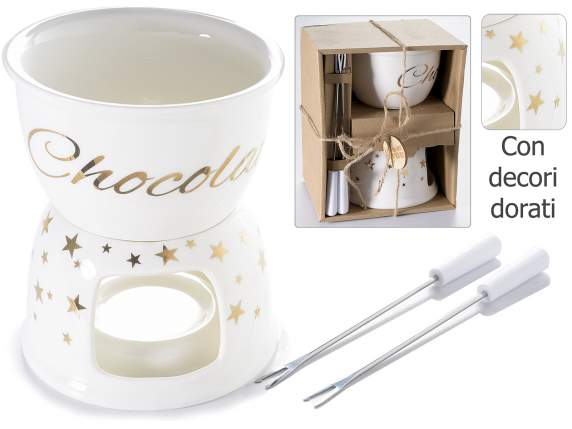 Set fondue chocolat in porcellana c/decori oro e scat.regalo