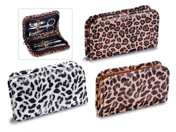 Set manicure c/6 accessori custodia Animalier chiusura zip