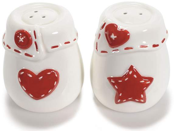 Salt and pepper set in shiny ceramic w-decorations