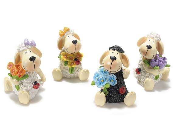 Resin sheep with bunch of flowers