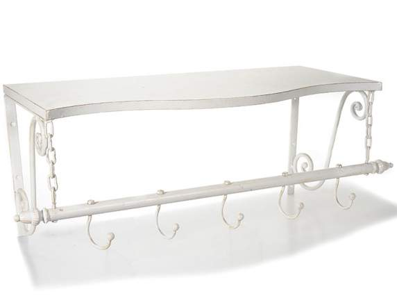 Wall shelf in white metal with 5 hooks