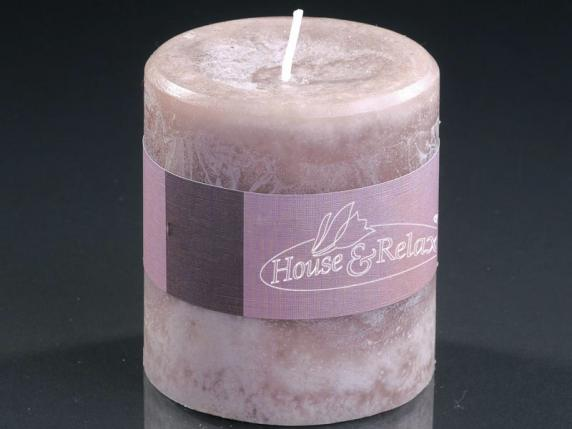 Small dove-grey candle 6,7x7,3 cm  - burning time 33 hours.