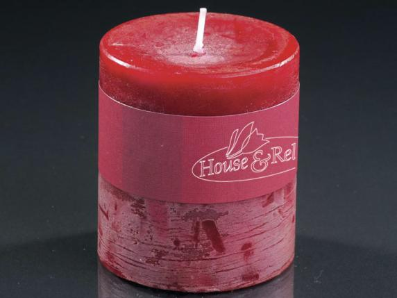Small red candle 6,7x7,3 cm  - burning time 51 hours.