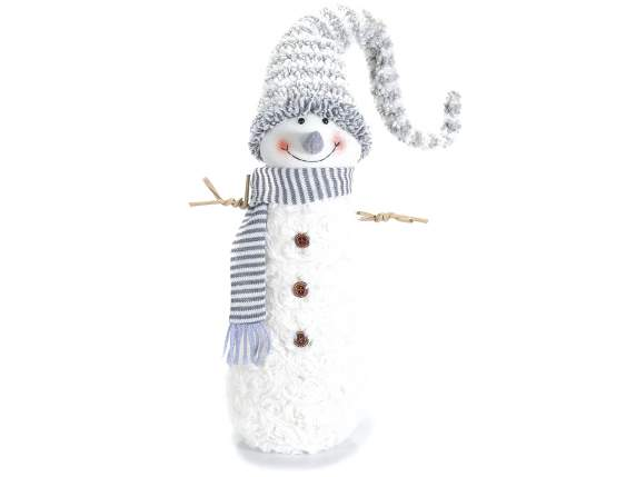 Decorative snowman with hat and scarf
