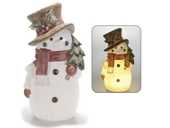 Snowman in translucent resin with led lights