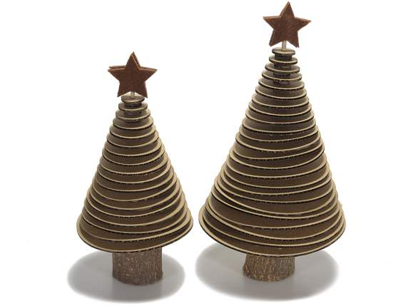 Set 2 spiral wooden cardboard Christmas trees with star