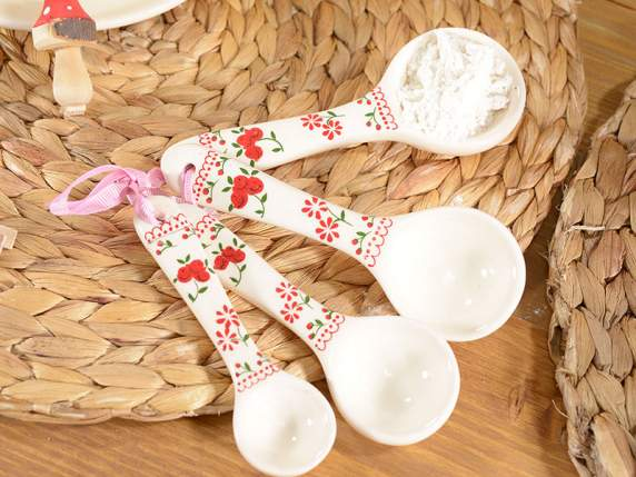 Set of 4 hanging spoons in ceramic with ribbon