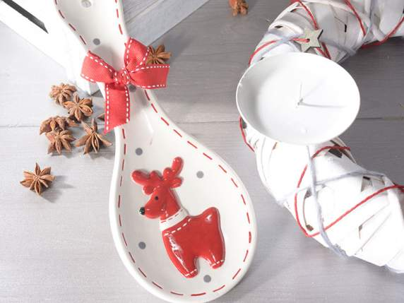 Ceramic spoon rest with cloth ribbon