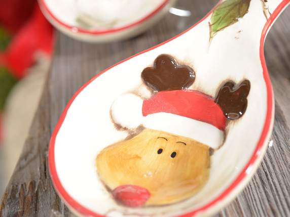 Pottery spoonrest w-Christmas figures