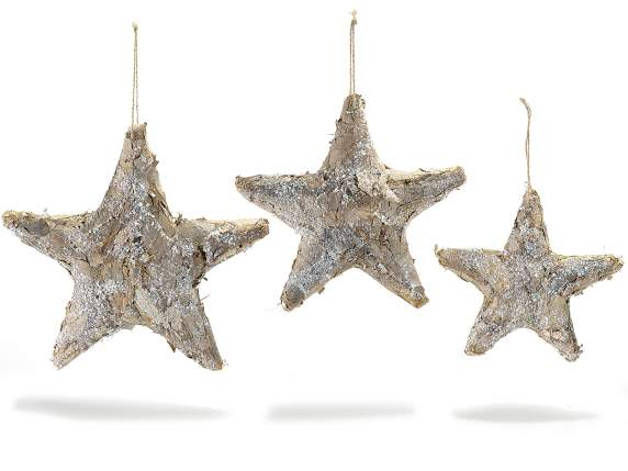 Set 2 hanging stars in natural fiber