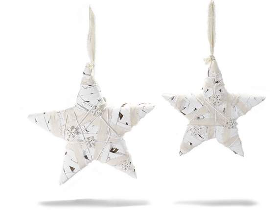 Set 2 white rattan stars with decorative snowflake to hang