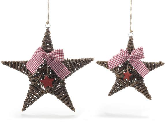 Set 2 wooden decorative stars w-ribbons
