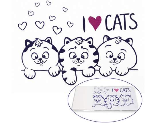 Paquet 6 stickers pour interruptor I love Cats