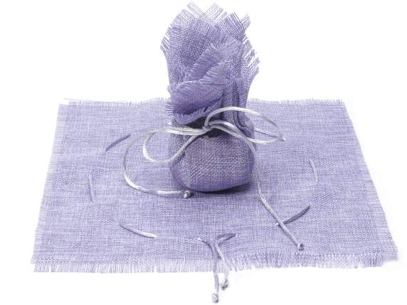Cloth sugared almonds sachet with string lilac color