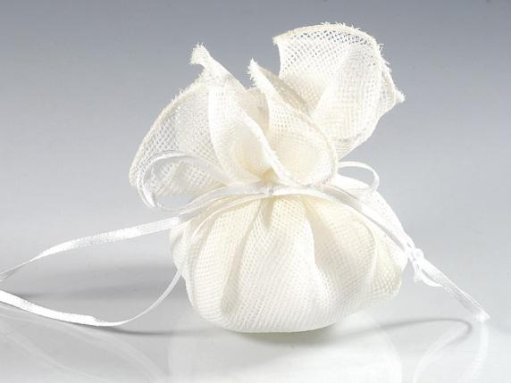 Cloth ecru sachet with round base and string for bonbonnière