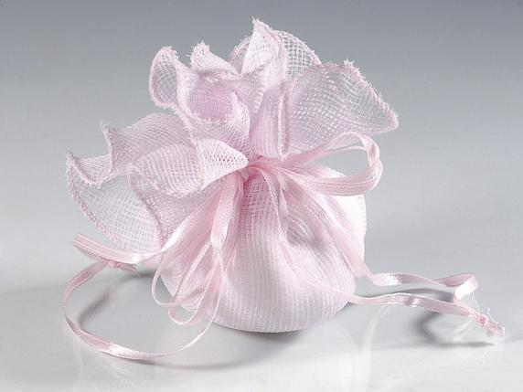 Cloth pink sachet w-round base and string for sugared almond