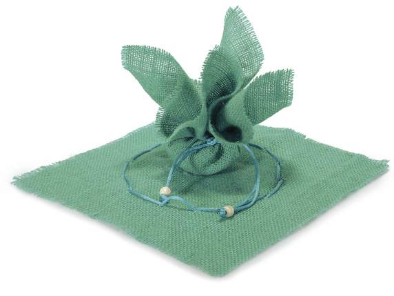 Aqua green sachet in jute with string