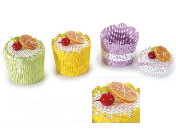 Paper cupcakes w-cover and fruit decoration