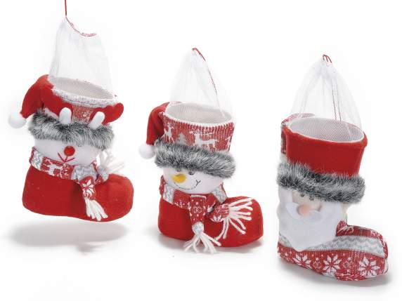 Christmas boot shaped sweet holder w-organdie net