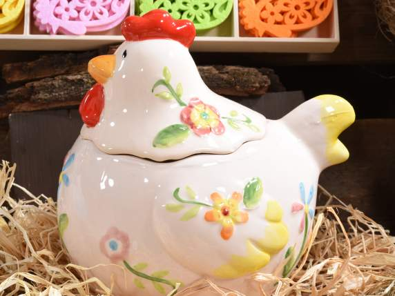 Pottery hen shaped sweet holder w-flowers decorations